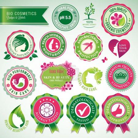 Foto de Conjunto de vectores insignias y etiquetas de cosméticos y cuidado de la salud - Imagen libre de derechos