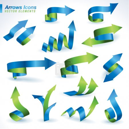 Illustration for Set of vector arrows icons - Royalty Free Image