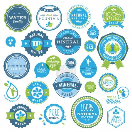 Illustration for Set of vector badges and stickers for water - Royalty Free Image
