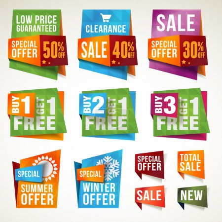 Illustration for Set of vector sale labels and banners - Royalty Free Image
