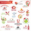 Set of vector icons and elements for food and drin...