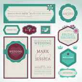 Set of vector wedding invitation cards