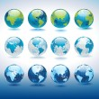 Set of vector globe icons showing earth with all c...