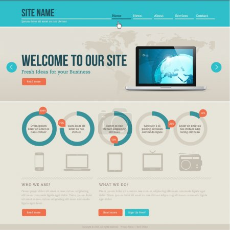 Photo for Vintage vector website template - Royalty Free Image