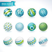 Set of abstract globe icons
