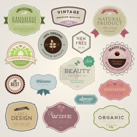 Photo for Set of vector labels and stickers for food and drink, cosmetics, healthcare - Royalty Free Image