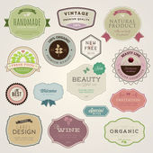 Set of vector labels and stickers for food and drink cosmetics healthcare