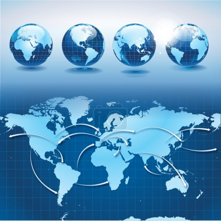 Photo for World transportation and logistics map and set of earth globes - Royalty Free Image