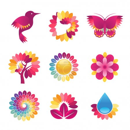 Illustration for Set of colorful vector icons for cosmetics, spa, beauty - Royalty Free Image