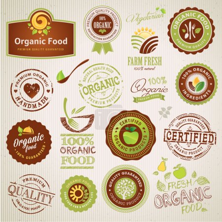 Illustration for Set of vector organic food labels and elements - Royalty Free Image
