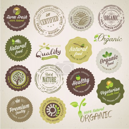 Illustration for Set of organic food labels and elements - Royalty Free Image
