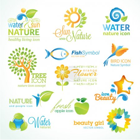 Photo for Set of vector icon for nature, food and drink, beauty, cosmetics, spa, organic product, animals, flowers and tree - Royalty Free Image