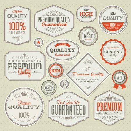 Illustration for Set of vintage vector labels and stickers - Royalty Free Image
