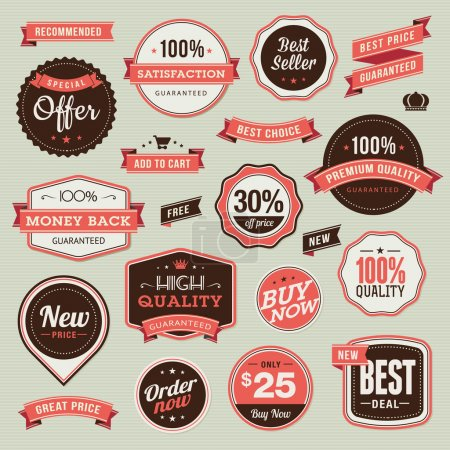 Illustration for Set of vintage badges and ribbons for sale - Royalty Free Image