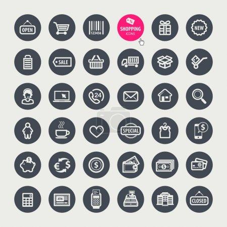 Illustration pour Ensemble de différentes icônes shopping - image libre de droit