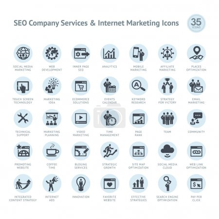 Photo for Set of business icons for SEO company service and Internet marketing - Royalty Free Image