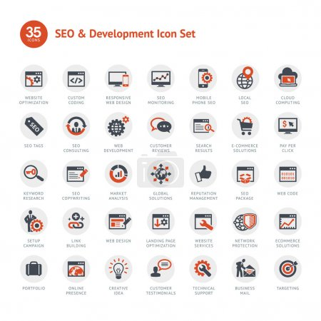 Photo for Set of business icons for SEO and Development - Royalty Free Image