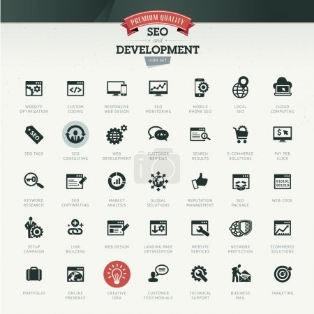 Illustration for Set of business icons for SEO and development - Royalty Free Image