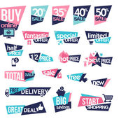 Set of stickers and badges for sale