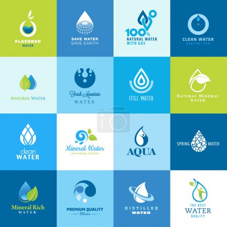 Illustration for Set of vector icons for different types of water - Royalty Free Image