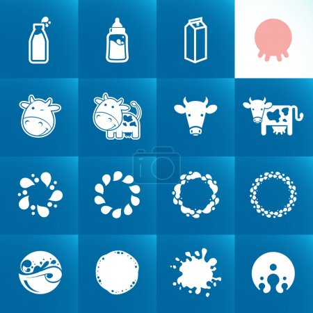 Set of icons for milk. Abstract shapes and elements.