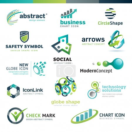 Illustration for Set of different vector business abstract icons - Royalty Free Image