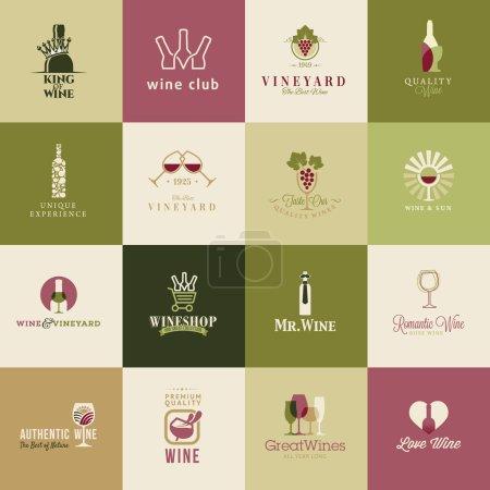 Illustration pour Ensemble d'icônes pour le vin - image libre de droit