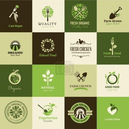 Illustration for Set of vector icons for organic food and restaurants - Royalty Free Image