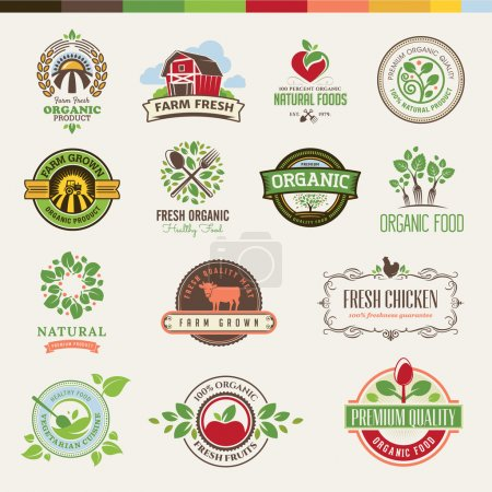 Photo for Set of vector badges and stickers for organic products - Royalty Free Image