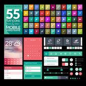 Set of flat design icons elements widgets