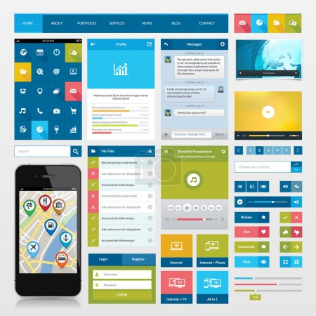 Flat icons and ui web elements for mobile app and website design