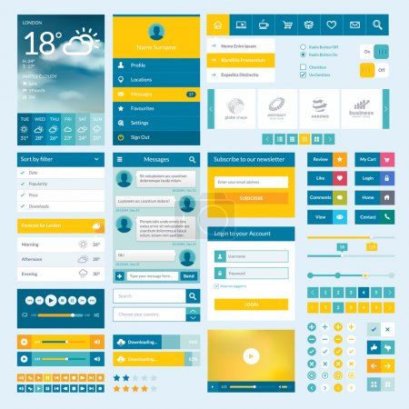 Photo for Set of flat web elements, icons and buttons for mobile app and web design - Royalty Free Image