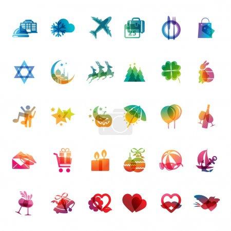 Photo pour Ensemble d'icônes colorées pour les fêtes, les événements et les voyages . - image libre de droit