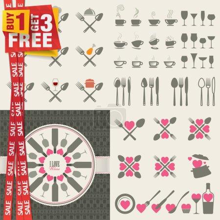 Photo pour Ensemble d'icônes et d'éléments pour les restaurants, la nourriture et les boissons. Offre spéciale forfait 4 en 1 . - image libre de droit