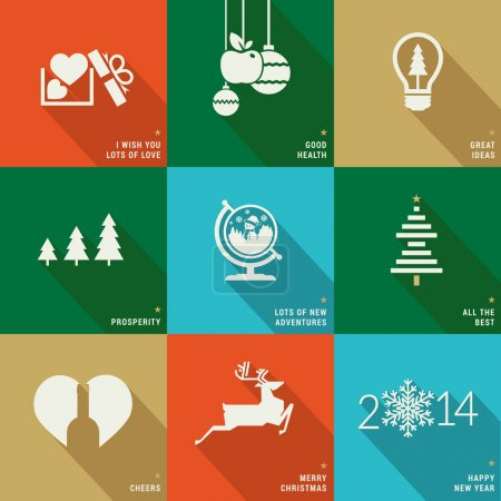 Set of icons, banners and cards for Christmas and New Year