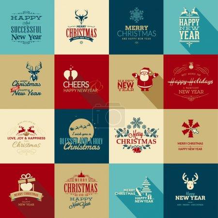 Foto de Conjunto de elementos vintage para tarjetas de felicitación de Navidad y año nuevo, banderas, insignias - Imagen libre de derechos