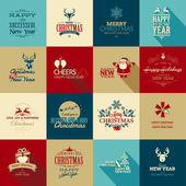 Set of vintage elements for Christmas and New Year greeting cards banners badges
