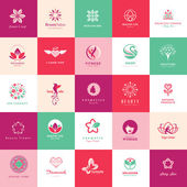 Set of icons for beauty cosmetics spa and wellness