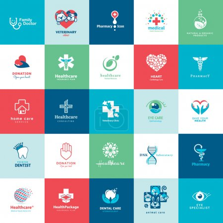 Illustration for Set of vector icons for medicine, healthcare, pharmacy, veterinarian, dentist - Royalty Free Image