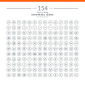 Set of 154 universal modern thin line icons