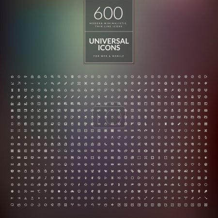 Illustration for Set of 600 universal modern thin line icons for web and mobile - Royalty Free Image