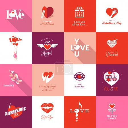 Illustration for Set of flat design icons for Valentines day - Royalty Free Image