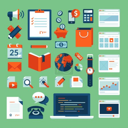 Photo pour Set design plat vector illustration concept icônes des éléments de travail opérationnels pour le design web, commerce électronique, application mobile, marketing digital, programmation, seo, bureau, communication, finance - image libre de droit