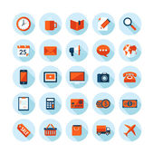 Flat design modern vector illustration icons set on business and finance theme Icons with long shadow in stylish colors isolated on white