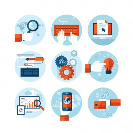 Illustration for Set of modern flat design icons on the topic of web design development. - Royalty Free Image