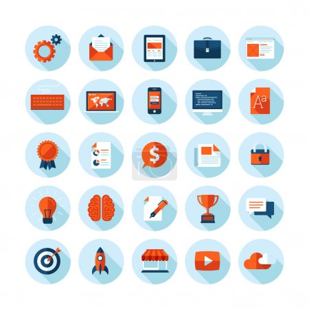 Flat design modern vector illustration icons set of web design, seo, business and marketing items. Icons with long shadow in stylish colors, isolated on white.