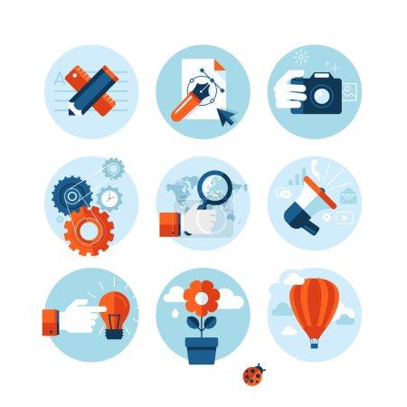 Illustration pour Ensemble d'icônes du design plat moderne sur le thème du marketing. - image libre de droit