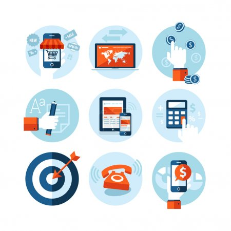 Set of modern flat design icons on e-commerce theme. Icons for online shopping, internet marketing, refferal marketing, computer and mobile phone apps, finance, planning, strategy and advertising.