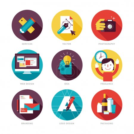 Illustration for Icons for graphic design, web design, branding, packaging design, logo design, freelance designers, photography and creative design process. - Royalty Free Image