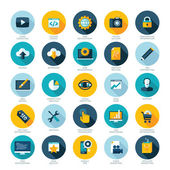 Set of flat design icons for Web design development SEO and Internet marketing